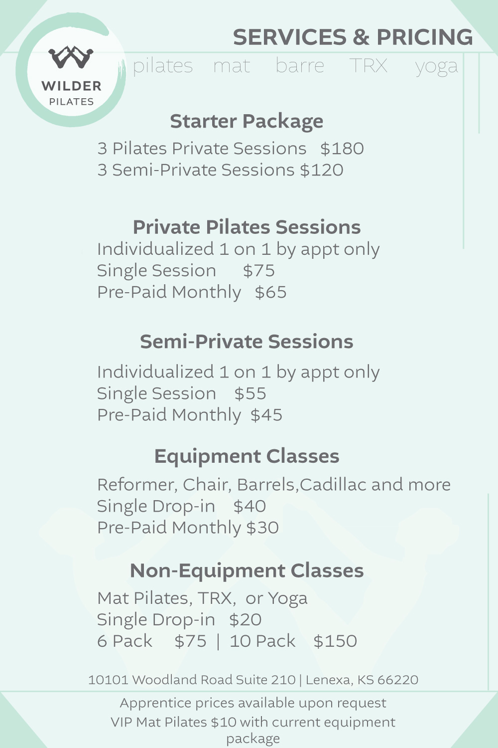 services and pricing for wilder pilates studio, lenexa kansas 2018